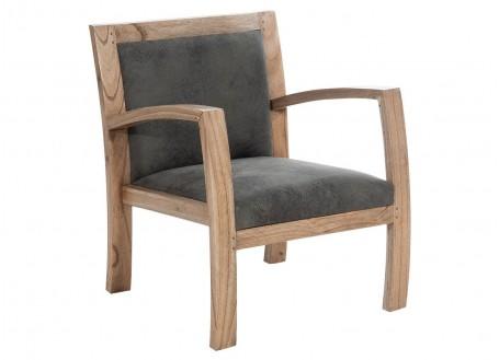 Fauteuil Combo - Bois naturel & tissu gris patiné