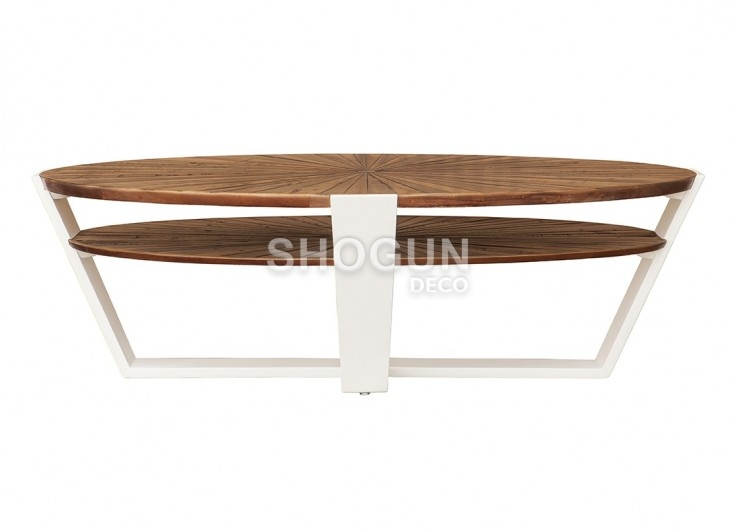 table basse ovale surya 130x70cm laqu blanc et bois massif ch ne. Black Bedroom Furniture Sets. Home Design Ideas