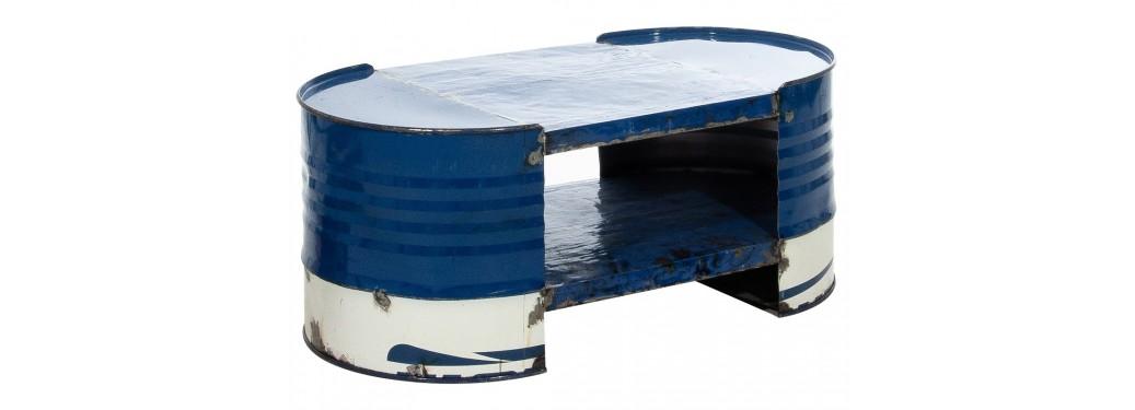 Table basse originale style industriel en bidon recyclé