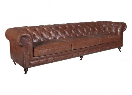 Chesterfield sofa 3,5 seaters - Brown leather