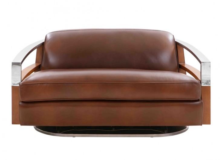 Canapé art déco Madison en cuir marron