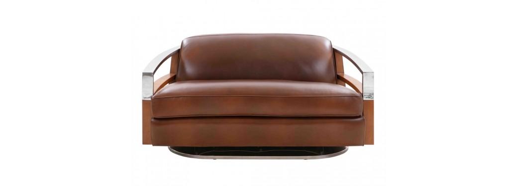 Canapé club Madison - Cuir marron et finition noyer