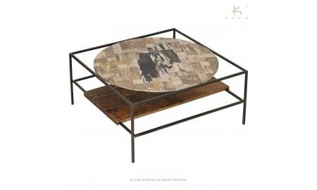Table basse Influence carrée, plateau en verre