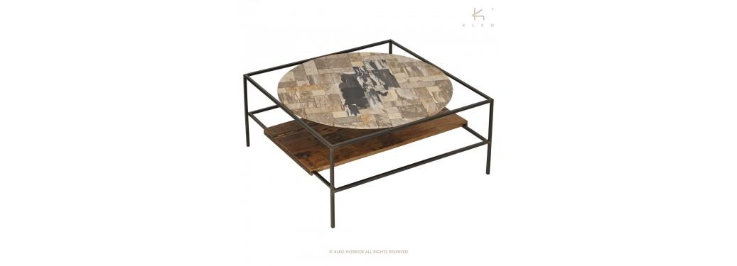 Table basse carrée Mozaïc, pierre blanche