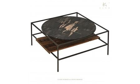 Table basse carrée Mozaïc, pierre noire