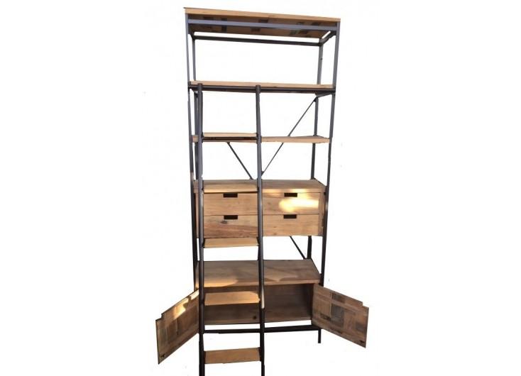 Bibliothèque Tundra - 3 étagères, 2 tiroirs et 1 niche