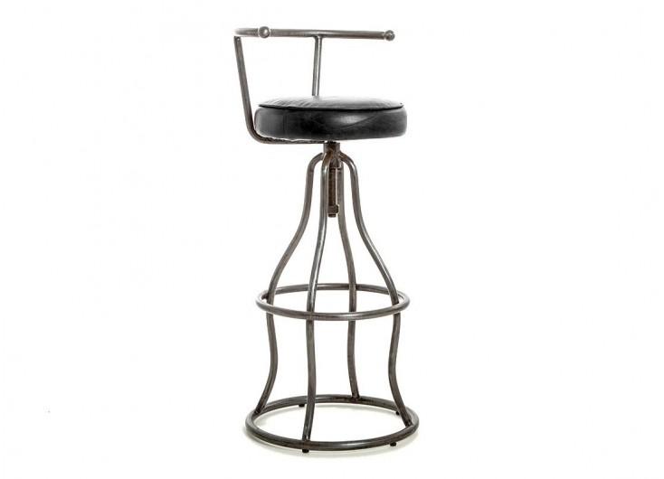 Tabouret de bar avec dossier - Assise cuir marron et métal