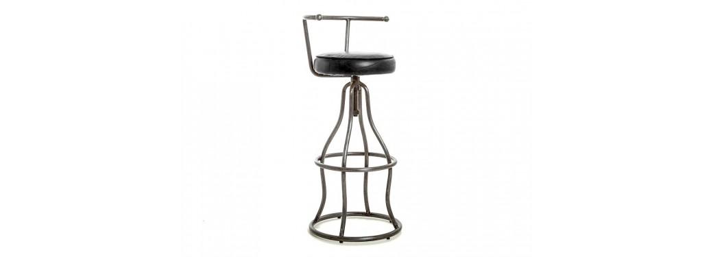 Tabouret de bar avec dossier LOFT - Assise cuir noir et métal