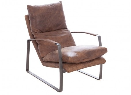 Fauteuil confort Joplin - Cuir marron et métal