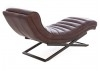 Chaise longue Lounge - Cuir marron et inox
