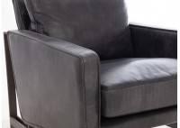 Fauteuil confort Dallas - Cuir noir et métal