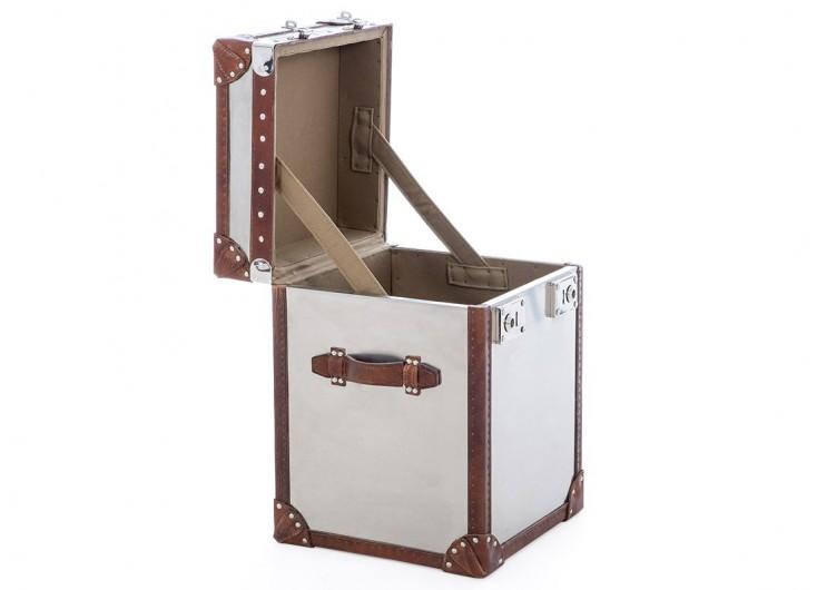 Coffre de rangement - Metal et cuir