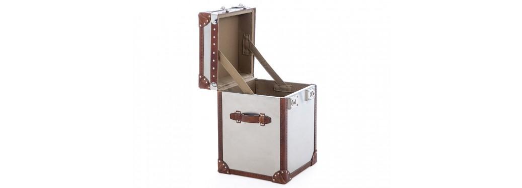 Chevet ou Coffre de rangement - Metal et cuir