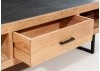 Combo Armchair - Black wood & grey fabric