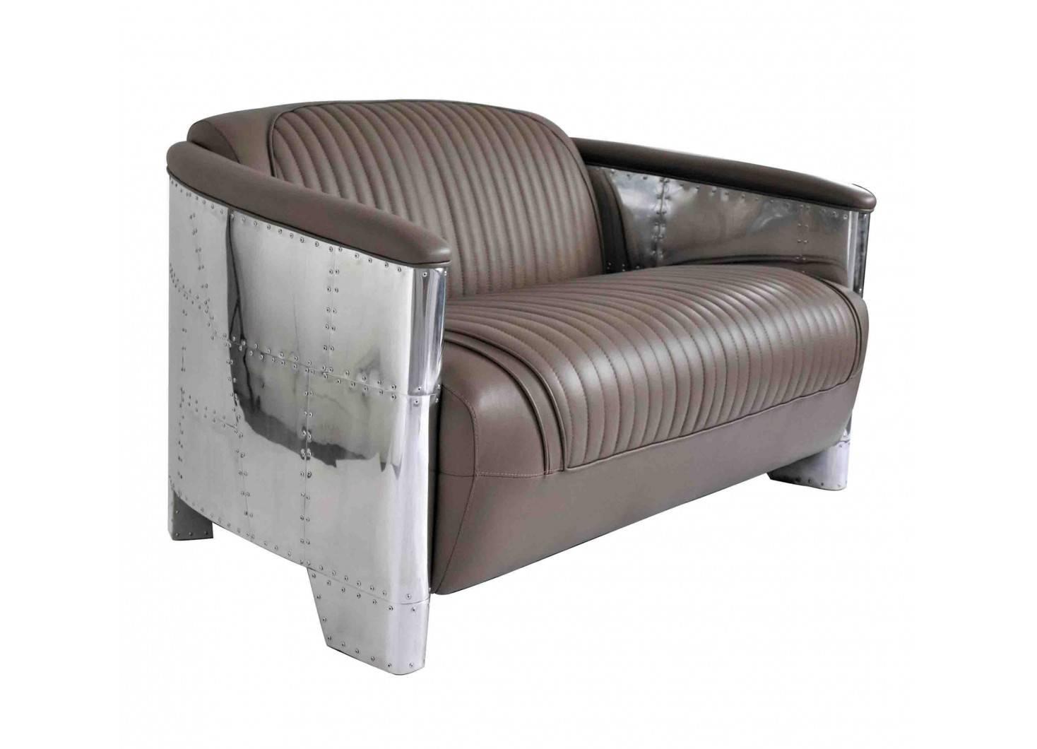 Canapé club design aviator cuir taupe et aluminium riveté