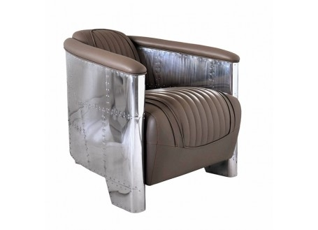Taupe leather aviator armchair DC3