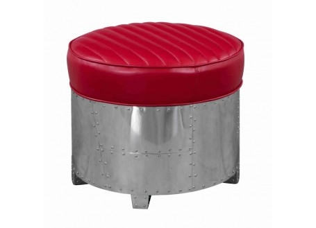 Aviator round Ottoman - Red leather