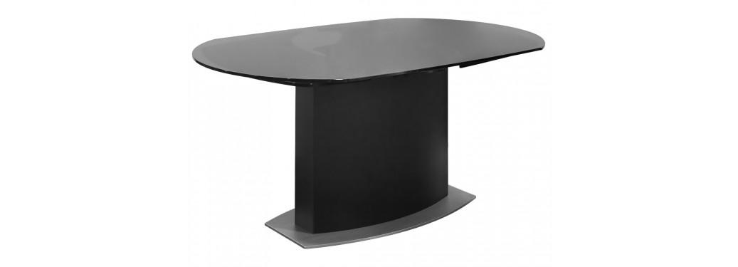 Table repas extensible Liner - finition noire et verre fumé