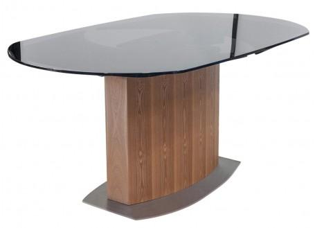 Table repas extensible Liner - finition bois et verre fumé