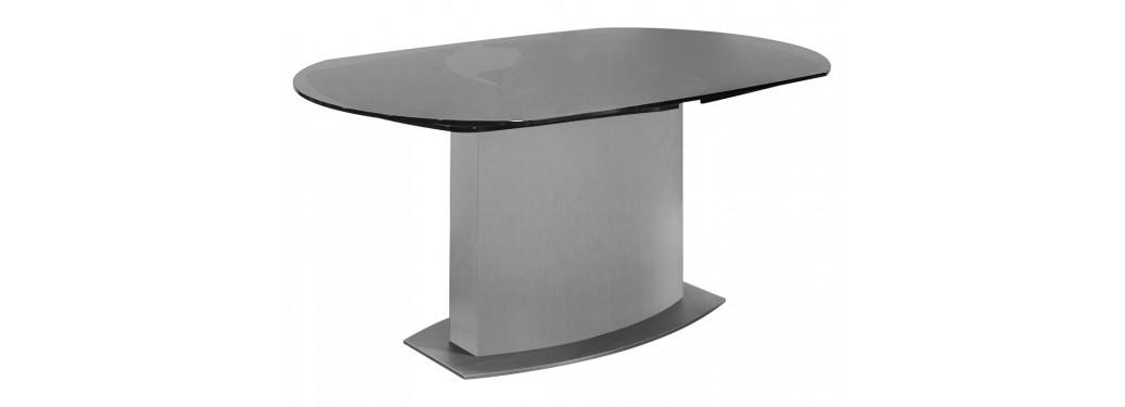 Table repas extensible Liner - finition alu et verre fumé