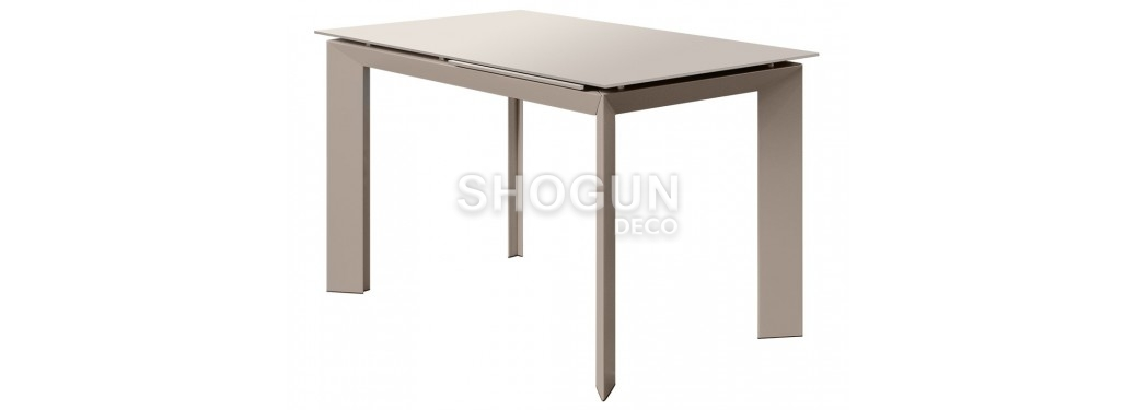 Table extensible en verre trempé - Finition taupe