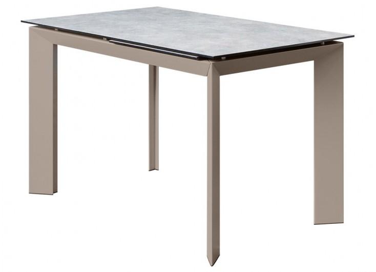 Table extensible en résine - Finition gris/taupe
