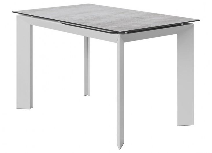 Table extensible en résine - Finition blanc gris