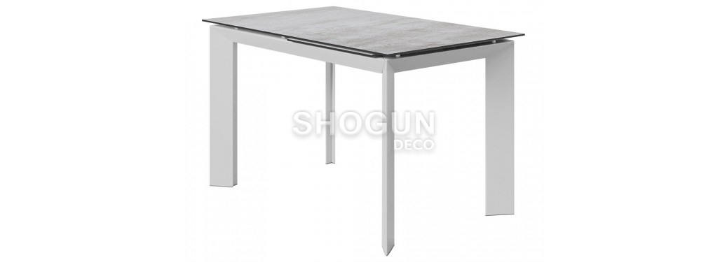 Table extensible en résine - Finition blanc/gris