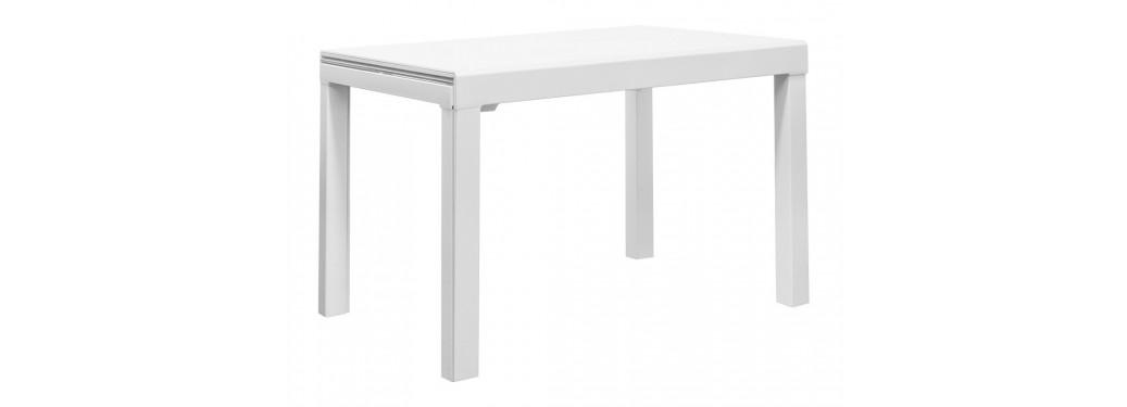 Table extensible en verre trempé - Finition blanc