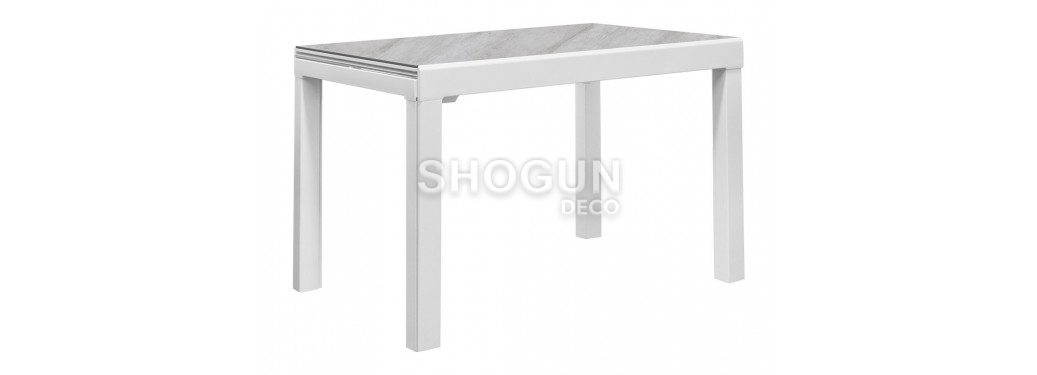 Table extensible très grand format en résine céramique - Finition blanc