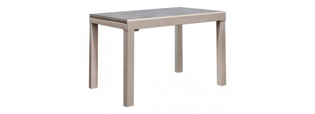 Table extensible en résine céramique  - Finition taupe/gris