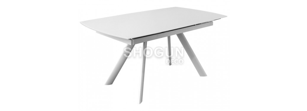Table extensible en verre trempé - Finition blanche