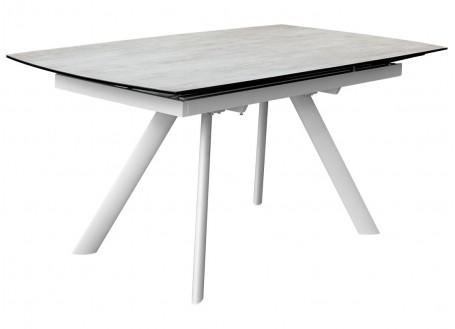 Table extensible en résine céramique - Finition blanc/gris