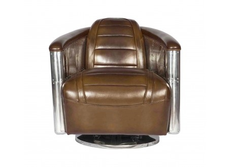 Brown leather pivoting aviator armchair DC3
