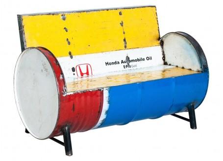 Canapé en bidon recyclé - artisanat - L120 cm