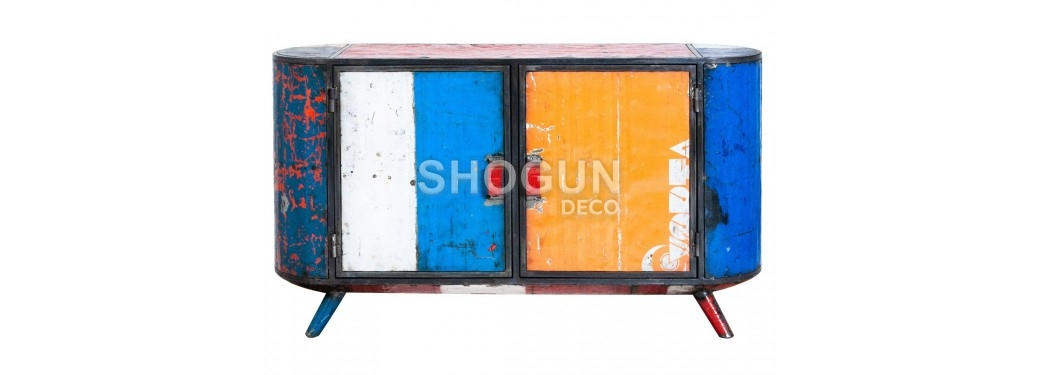 Sideboard 2 doors made in recycled oil can - arts & crafts