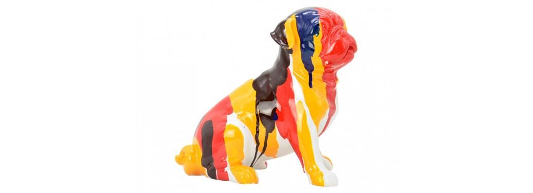 Statue en résine chien carlin - 20cm
