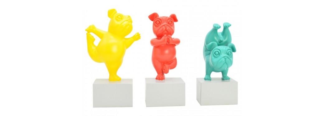 Statues de chien yoga en résine
