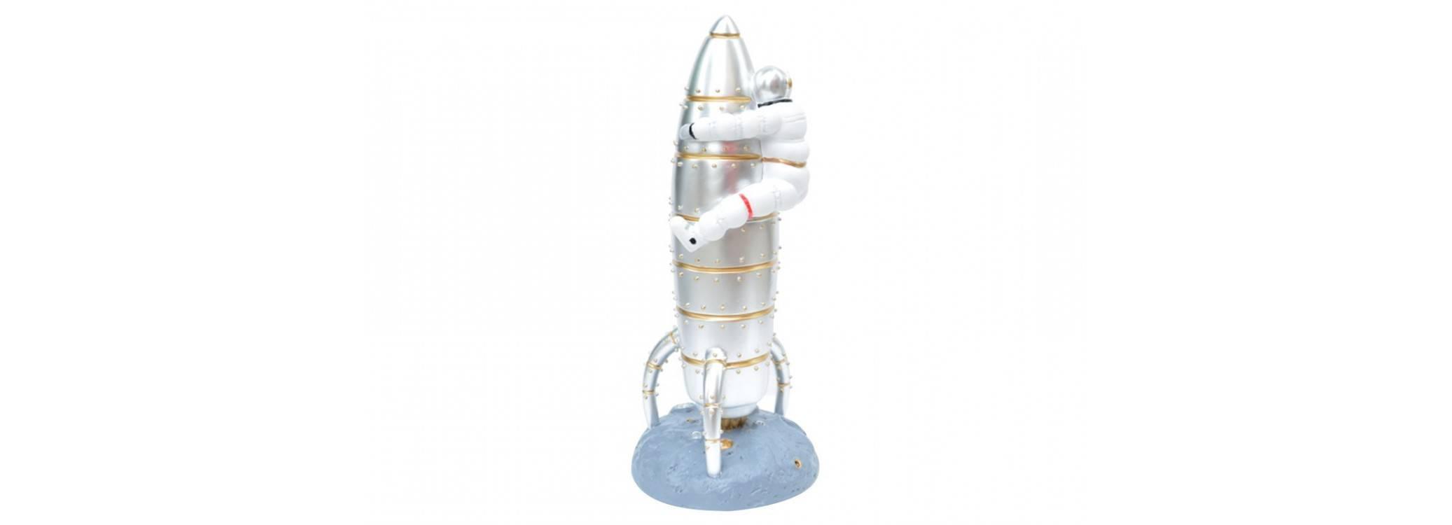 Statue d'astronaute et sa fusée en résine