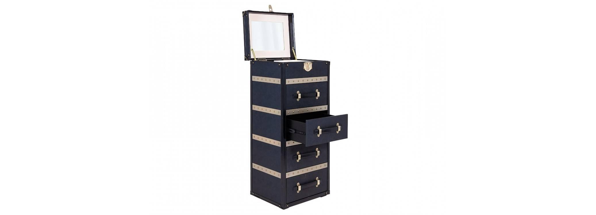 Chiffonnier 4 tiroirs Cap Horn - Noir façon galuchat