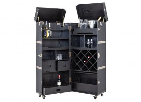 Malle bar Cap Horn - Grand modèle - Façon croco marron