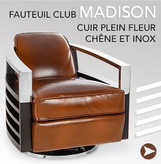 Fauteuils club Madison - Cuir et inox